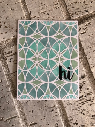 Blue/green Inked Stained Glass Cover Die white cardstock