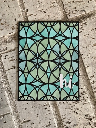 Blue/green CP inked Stained glass cover die.